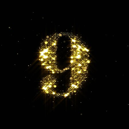 Golden glitter number 9, sparkling gold light and glowing gold particles shine font.
