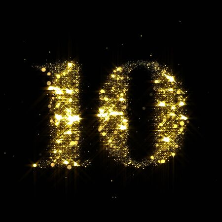 Golden glitter number 10, sparkling gold light and glowing gold particles shine font. Number ten of shimmering sequins and glow sparkles on luxury black background