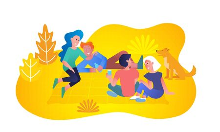 Friends at picnic in forest park, young couple boys and girls laying on blanket on grass. Lagom comfort lifestyle and happiness together concept, vector flat trendy design