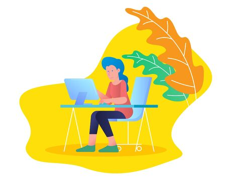 Woman working with laptop computer at tale desk, Lagom life balance and comfort lifestyle concept, vector flat trendy design with yellow nature leaf