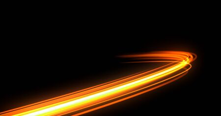 Light trail flash, neon yellow and orange golden glow path trace effect. Light trail wave, fire path trace line, car lights, optic fiber and incandescence curve twirl 版權商用圖片