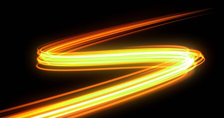 Bright neon glowing light tail, energy wave line with flash lights effect. Magic orange yellow glow swirl trace path, on black background, optical fiber technology and light in speed motion 版權商用圖片
