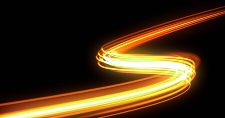 Bright light trail, orange neon glowing wave trace, energy flash and fire effect. Magic glow swirl trace path, optical fiber technology and light in speed motion on black background