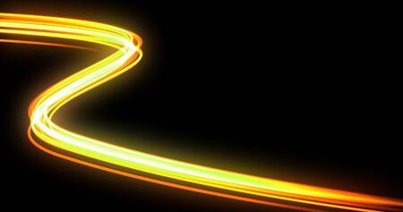 Onda luminosa con effetto sentiero, traccia luminosa al neon arancione e flash di energia. Magico vortice di bagliore della tecnologia della fibra ottica e luce intensa nella curva di movimento su sfondo nero