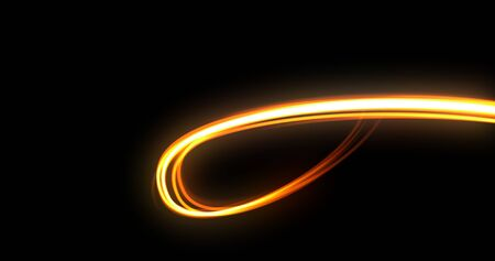 Light trail, orange neon glowing wave swirl spin trace, energy flash and fire light line effect. Magic glow swirl trace path, optical fiber technology and light in speed motion on black background