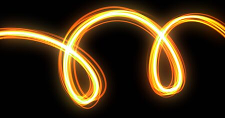 Light wave spiral trail effect, orange neon glow spin twirl trace. Incandescent spiral line and magic fire light glow swirl in motion on black background