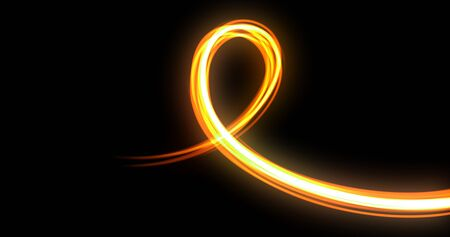 Light wave spiral curve trail, orange yellow neon glowing flash with spin line trace.
