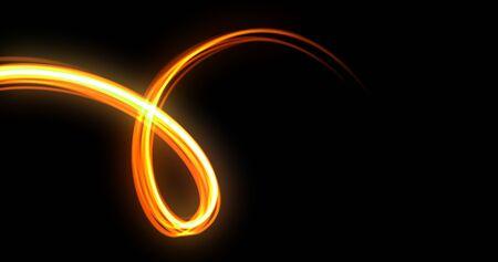 Light wave twirl, neon glow spiral spin trail, light trace effect on black background. Orange yellow golden light flash glow, optic fiber line curve and energy magic bright flare 版權商用圖片