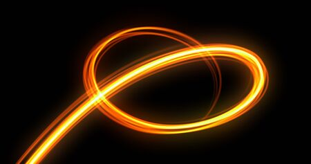 Light trail spiral, orange neon glowing wave swirl, energy flash spin trace effect. Abstract magic glow spiral line swirl trace, optical fiber and bright light path in speed motion on black background 版權商用圖片