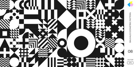 Abstract Bauhaus geometric pattern, vector background. Black and white Memphis or Bauhaus Swiss pattern background 向量圖像