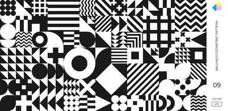 Abstract Bauhaus geometric pattern, vector circle, triangle and square lines background. Black and white Memphis or Bauhaus Swiss pattern background