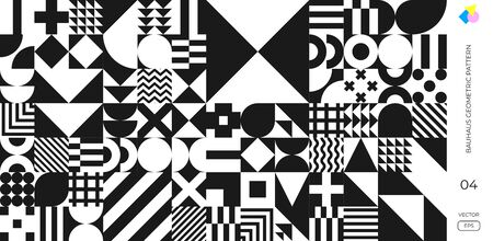 Bauhaus and Swiss pattern background, vector abstract geometric shape design. Memphis or Bauhaus simple minimal style pattern retro poster background 向量圖像