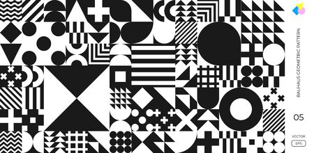 Bauhaus Swiss minimal pattern background, vector abstract geometric poster. Memphis or Bauhaus monochrome background with geometric circle, triangle and square lines pattern