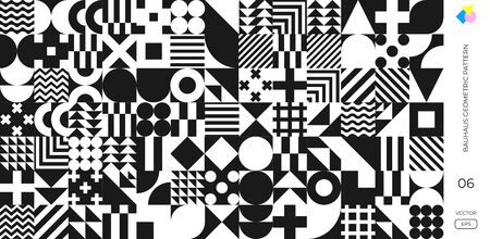 Bauhaus pattern background, vector abstract geometric black and white circle, triangle and square lines. Memphis or Bauhaus Swiss background with monochrome pattern