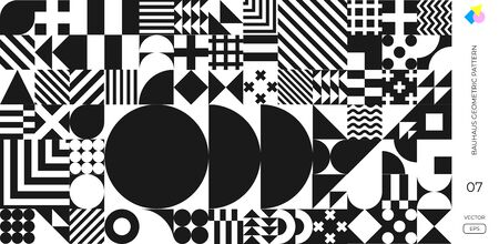 Bauhaus pattern abstract geometric shapes vector background. Black and white circle, triangle and square lines, Memphis or Bauhaus Swiss pattern on monochrome background 向量圖像