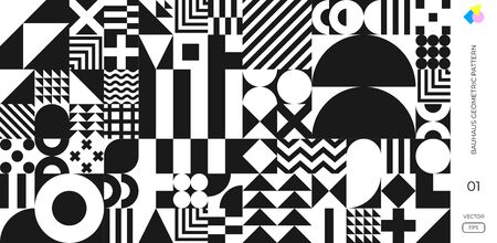 Abstract Bauhaus pattern vector minimal Swiss background. Memphis geometric background with circle, triangle, circle and square line pattern poster 向量圖像
