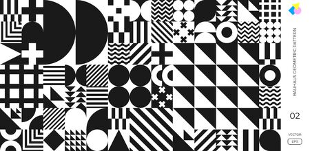 Bauhaus pattern background, Swiss geometric shape design vector poster. Abstract Memphis or Bauhaus style retro art with circle, triangle, circle and square line pattern 向量圖像