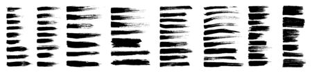 Brush strokes, black ink lines, vector abstract set with paint brush grunge texture on white