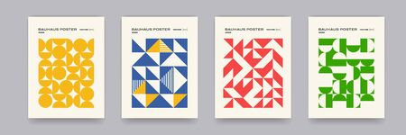 Bauhaus geometric pattern background, vector abstract circle, triangle and square lines art. Yellow, blue, red and green color, trendy Bauhaus pattern backgrounds set