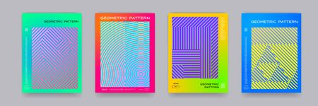 Color gradient background, geometric halftone pattern, vector abstract trendy line graphic design. Simple minimal halftone color gradient, modern pattern backgrounds and posters 向量圖像
