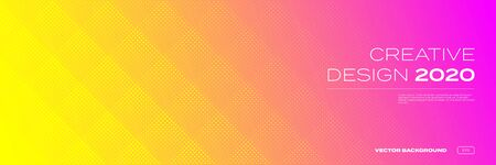 Color gradient background, halftone pattern, vector abstract trendy geometric graphic design. Simple minimal square and dots halftone yellow and pink red color gradient pattern background 向量圖像