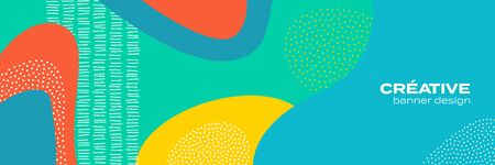 Abstract fun color pattern background, cartoon doodle geometric trendy shape texture. Vector liquid fluid colors pattern for brochure cover template background design 向量圖像