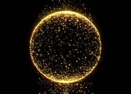 Gold glitter circle sphere with glittering light shine sparkles on black background. Sparkling shiny magic glow ball of gold shimmering confetti and glowing particles sparkles