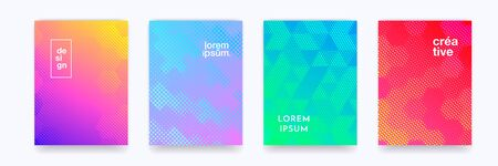Color gradient background, geometric halftone pattern, vector abstract trendy line graphic design. Simple minimal elements in halftone color gradient, modern pattern backgrounds set