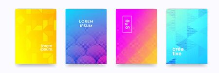 Pattern background, color gradient halftone geometric vector abstract trendy graphic design. Simple minimal in halftone color gradient and geometric element pattern backgrounds 向量圖像