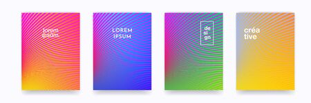 Pattern background color gradient halftone wave line vector abstract trendy graphic design. Simple minimal line wave elements in halftone color gradient, modern pattern backgrounds 向量圖像