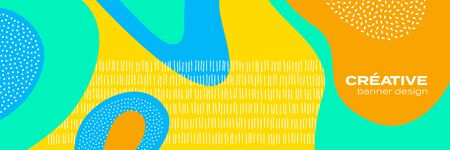 Abstract fun color pattern cartoon texture for doodle geometric background. Vector trend shape for brochure cover template design 向量圖像