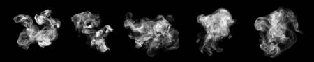 Smoke clouds, steam mist fog and white foggy vapor. 版權商用圖片