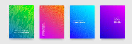 Background patterns with geometric lines and color gradient, abstract vector covers design. Trendy Memphis and jumble maze or liquid color backgrounds, brochures and covers templates