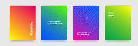 Background patterns, abstract lines and color gradient, vector covers design trendy templates. Memphis, organic dotted and line pattern backgrounds for cover designs 일러스트