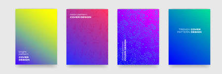 Backgrounds with geometric and color gradient patterns, vector abstract cover designs. Liquid fluid and geometric liquid fluid flow graphic, art posters and color gradient abstract backgrounds 일러스트