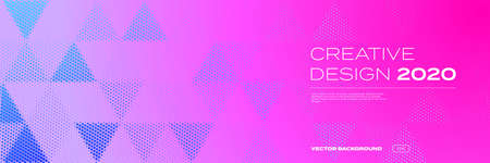 Background pattern, halftone color gradient, vector modern trend, creative design of 2020. Triangle geometric abstract pattern on purple pink neon color background