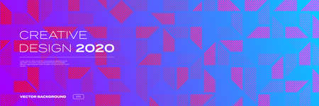 Background pattern, color gradient halftone creative design, 2020 trend vector. Abstract geometric and digital technology dot halftone pattern, on purple pink neon background 일러스트