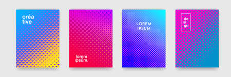 Background pattern design for covers, abstract color gradient and trendy halftone, vector. Creative trendy backgrounds, neon color cool simple halftone gradient and dot pattern posters set