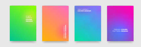 Cover design backgrounds, abstract geometric and color gradient pattern, vector. Wave line shapes, geometric liquid fluid flow graphic, art posters and color gradient abstract cover backgrounds