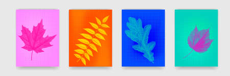 Background pattern design for covers, abstract color gradient halftone, vector. Creative trendy backgrounds with autumn leaf or leaves fall print, cool color simple halftone gradient pattern posters 일러스트