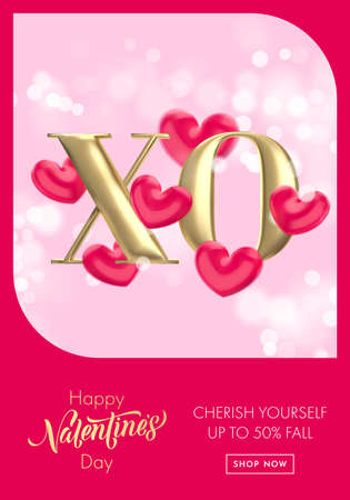 XO gold text for Valentine's day sale banner background. Hugs and Kisses concept of Valentines day with red heart balloon on pink bokeh background. Web site poster or greeting card
