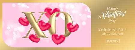 XO gold text for Valentine's day sale banner background. Hugs and Kisses concept of Valentines day with red heart balloon on pink bokeh background. Web site banner or greeting card.