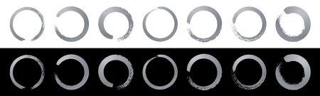 Hand drawn sketch vector brush line circle. Silver vector round scribble frame shape element. Circular paint brush stroke design
