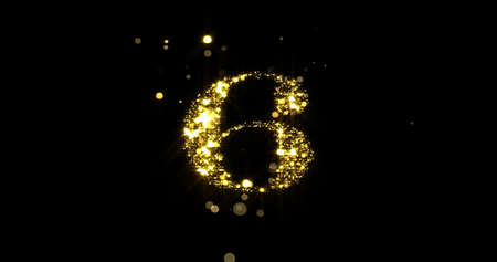 Number six glitter gold. Golden glittering number 6 with glister light and shiny sparks on black background