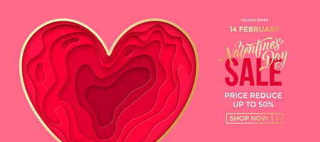 Valentine's day sale banner background. Valentines day papercut with gold heart frame on pink background. Web site banner or greeting card concept.