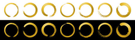 Gold hand drawn sketch vector brush line circle. Silver vector round scribble frame shape element. Circular paint brush stroke design