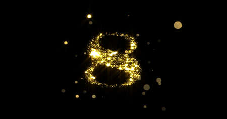 Number eight glitter gold. Golden glittering number 8 with glister light and shiny sparks on black background 版權商用圖片