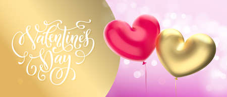 Gold Valentine's day sale banner background. Valentines day golden heart balloon on pink bokeh background. Web site banner or greeting card concept