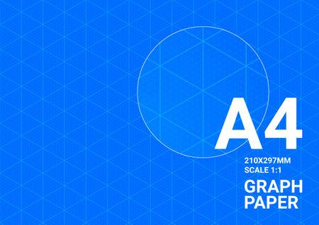Blueprint background, graph paper A4, vector blue print grid plan