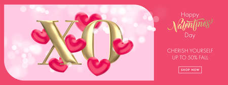 XO gold text for Valentine's day sale banner background. Hugs and Kisses concept of Valentines day with red heart balloon on pink bokeh background. Web site banner or greeting card 向量圖像